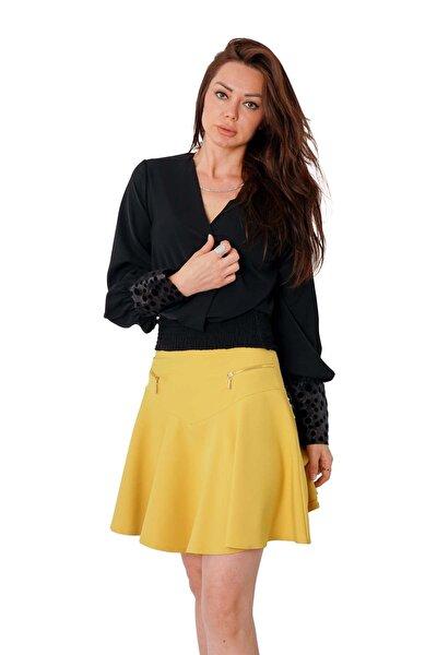 Kadın Siyah Kolları Organze Beli Gipeli Bluz Y-7626