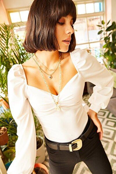Kadın Ekru Önü Büzgülü Balon Kol Bluz BLZ-19001084