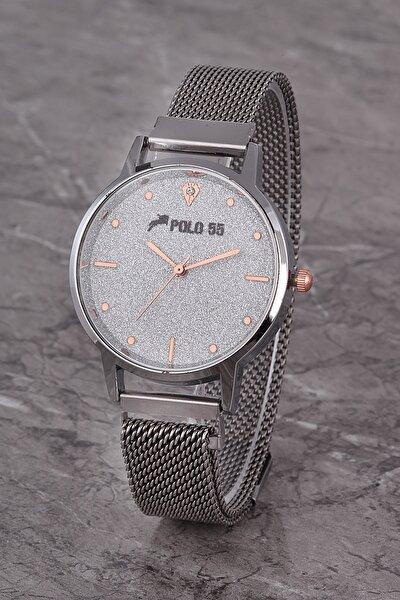Plkhm016r03 Kadın Saat Gümüş Çizgili Şık Kadran Mıknatıslı Hasır Kordon