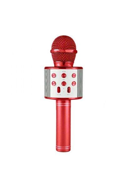 Ws-858 Kırmızı Karaoke Mikrofon Bluetooth Hoparlör Aux Usb Mikro Sd Kart Girişli