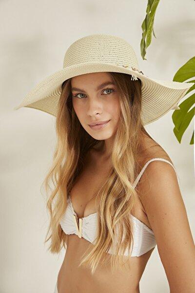 Kadın Hasır Plaj Şapkası Y2730-43 Ekru
