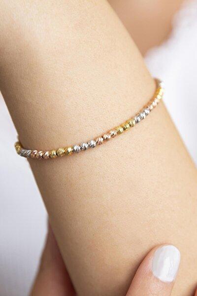 Kadın 3 Renkli Dorika 925 Ayar Gümüş Bileklik