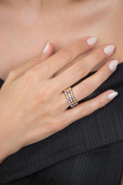 Kadın Dorika Toplu Rose 925 Ayar Gümüş Yüzük Pp2298