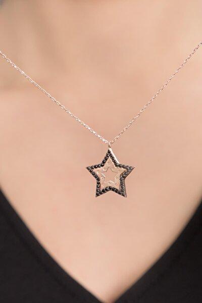 Kadın Siyah Taşlı Yıldız Model Rose Kaplama 925 Ayar Gümüş Kolye PP2576