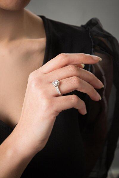 Kadın 2 Sıra Tek Taş 925 Ayar Gümüş Yüzük