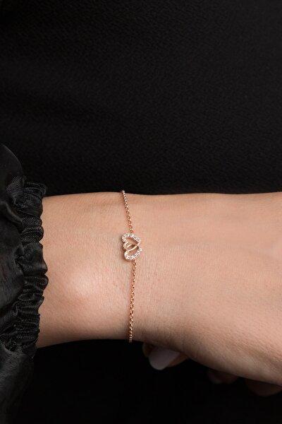 Kadın Iç Içe Kalp Model 925 Ayar Gümüş Bileklik