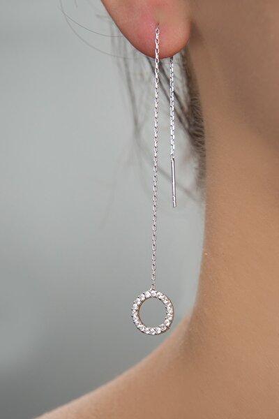 Kadın Taşlı Halka Model Sallantılı 925 Ayar Gümüş Küpe