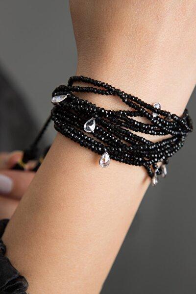 Kadın Damla Model Çoklu Siyah Kristal 925 Ayar Gümüş Bileklik