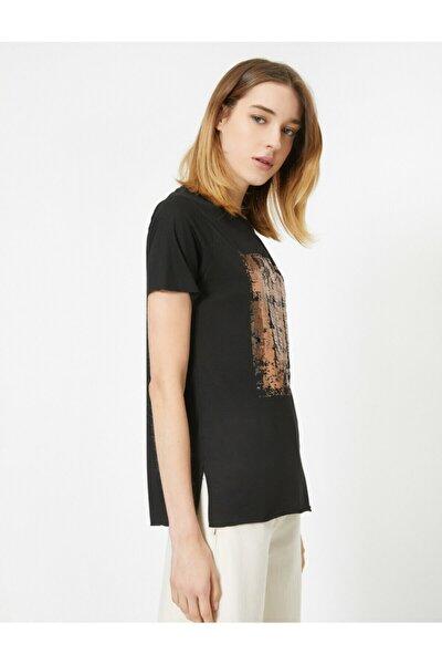 Kadın Siyah Pul Detaylı Bisiklet Yaka Kısa Kollu T-shirt