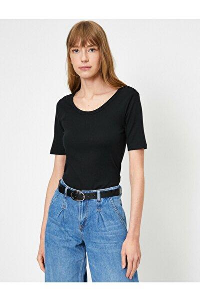 Kadın Siyah Oyuk Yaka T-Shirt