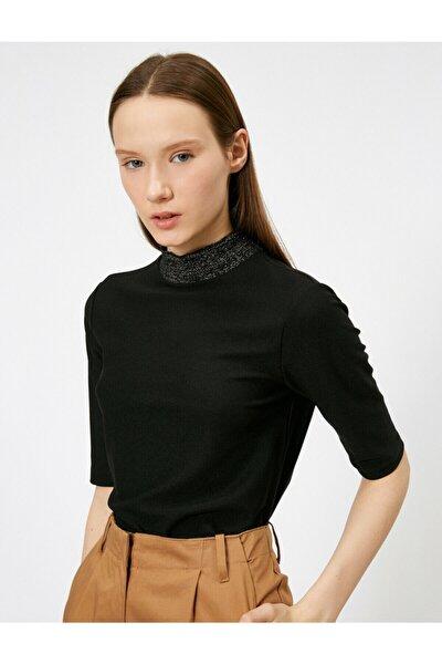 Kadın Siyah Sim Detaylı T-Shirt 0YAK13173EK
