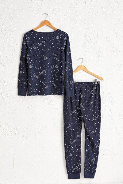 Kadın Lacivert Baskılı Pijama Takım 0W7595Z8