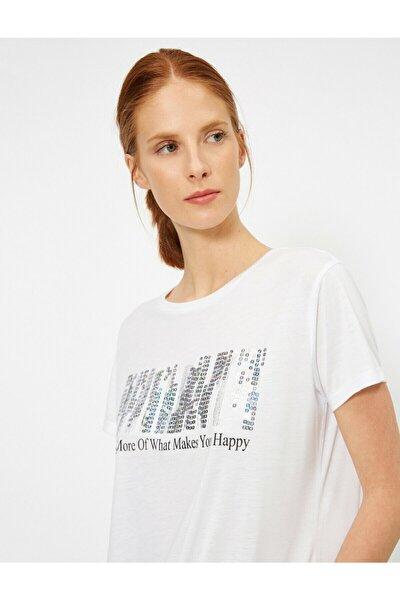 Kadın Ekru Pul Detayli T-shirt 0YAK13883EK