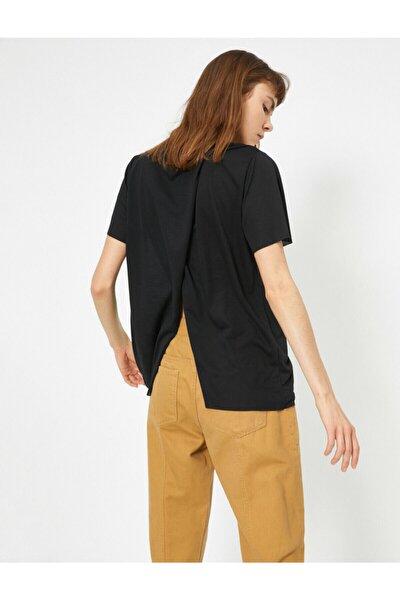 Kadın Siyah Sirt Detayli T-Shirt 0YAL18227OK