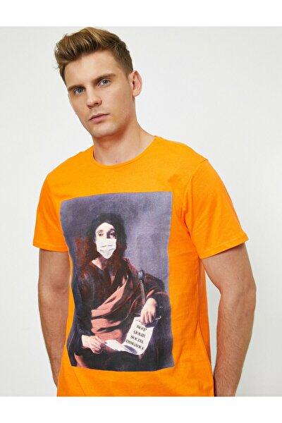 Erkek Turuncu Baskılı Bisiklet Yaka T-shirt
