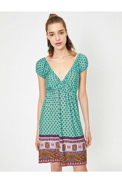 Kadın V Yaka Kisa Kollu Midi Desenli Elbise
