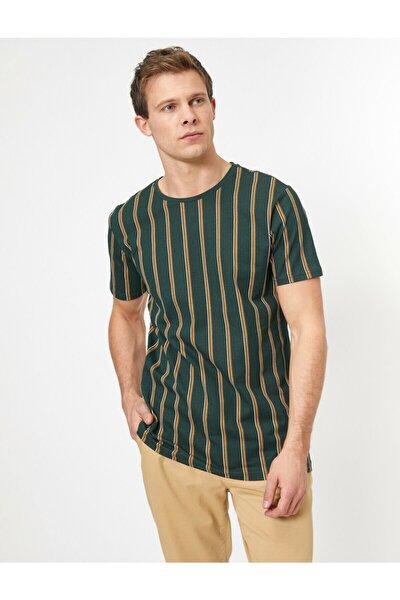 Erkek Yeşil Çizgili T-Shirt 0YAM14896OK