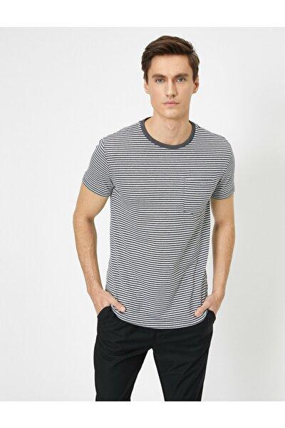 Erkek Gri Cep Detaylı T-Shirt