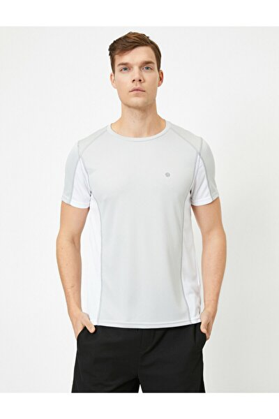 Erkek Gri Bisiklet Yaka Kısa Kollu Baskılı Pamuk T-shirt