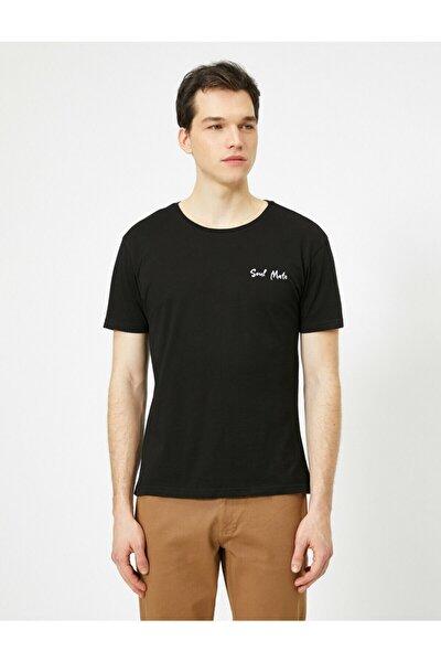 Erkek Siyah Bisiklet Yaka Göğüsü İşlemeli Regular Fit Couple  T-Shirt