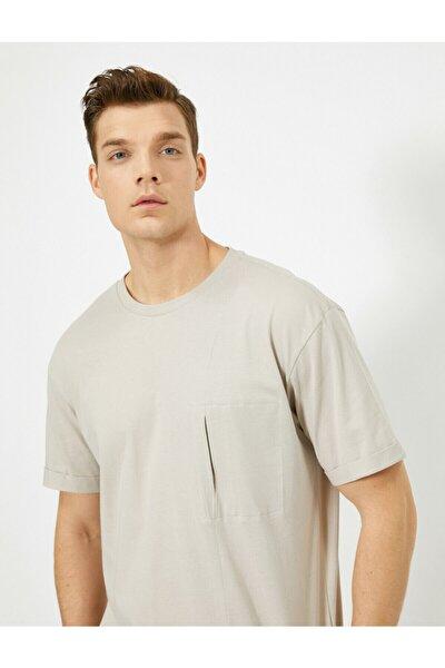 Erkek Vizon Bisiklet Yaka T-shirt