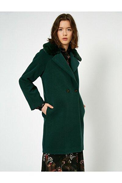 Kadın Yeşil Suni Kürk Detaylı Kaban