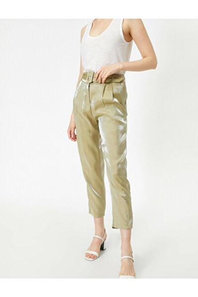 Kadın Yeşil Kemerli Cep Detayli Pantolon