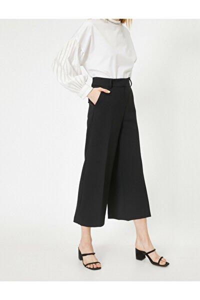 Kadın Siyah Yüksek Bel Culotte Pantolon