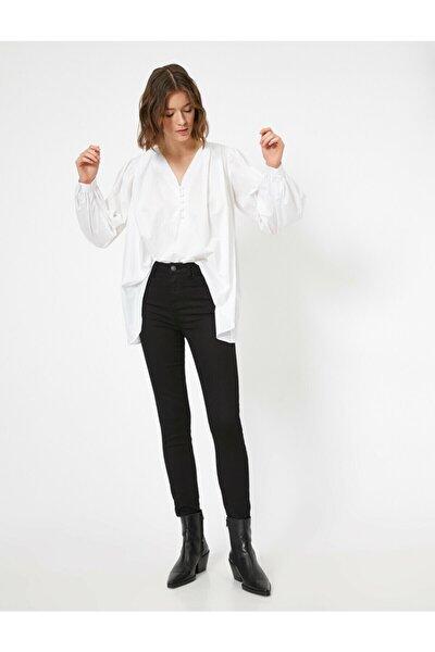 Kadın Siyah Cep Detaylı Pantolon 0YAK43810MW