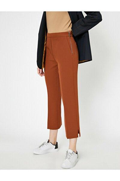 Kadın Kahverengi Kisa Paça Yirtmaçli Pantolon