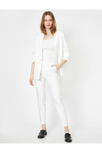Kadın Beyaz Slim Fit Dar Paça Pantolon