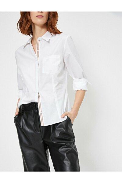 Kadın Beyaz Serit Ve Cep Detayli Pamuklu Gömlek