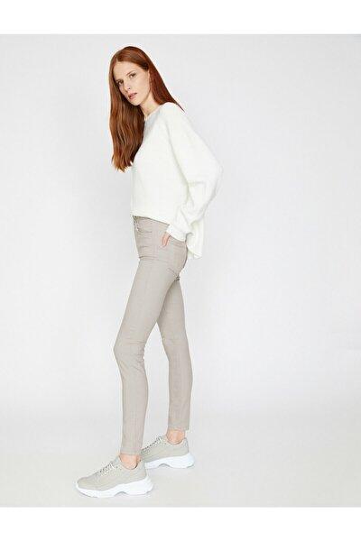 Kadın Gri Dar Kesim Pantolon