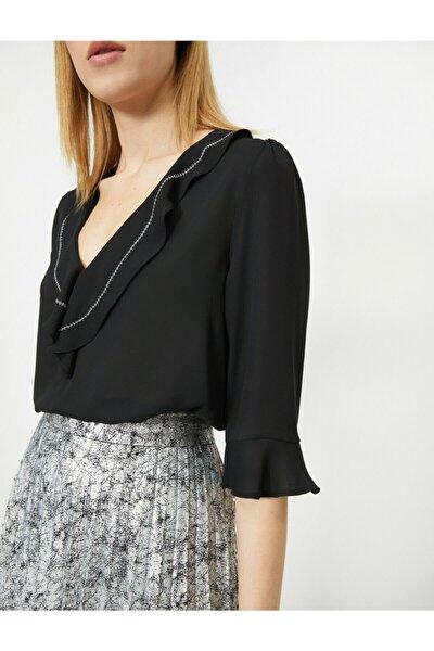 Kadın Siyah Yakası Dikiş Detaylı Bluz