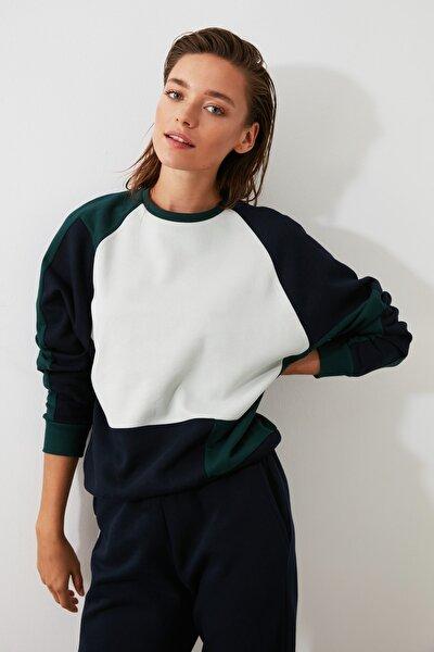Ekru Renk Bloklu Basic Örme Sweatshirt TWOAW21SW0116