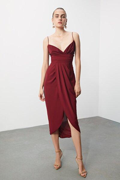 Bordo Nervür Detaylı Elbise TPRSS19BB0420