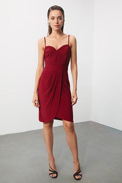 Bordo Nervür Detaylı Elbise TPRSS20EL0309