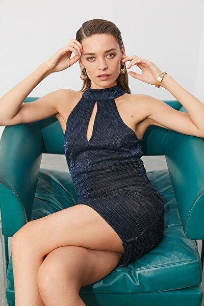 Lacivert Drapeli Elbise TPRSS20EL0291