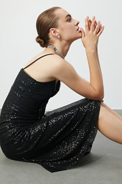 Siyah Payetli Elbise TPRSS20EL0765