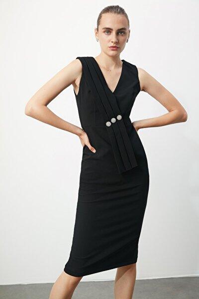 Siyah Taş Aksesuarlı Elbise TPRSS20EL2074