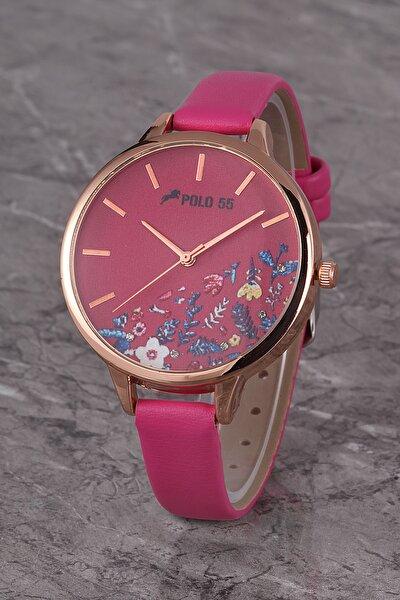 Plkk019r07 Kadın Saat Fuşya Desenli Kadran Deri Kordon