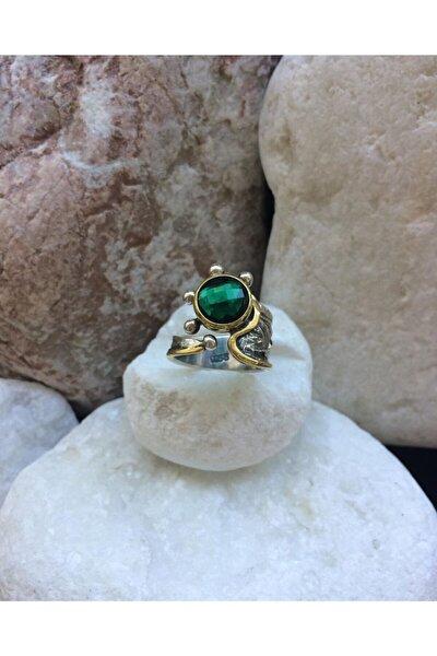 Gümüş Zirkon Zümrüt Yeşili Taşlı Ayarlanabilir Sarı Detaylı El Işi Yüzük