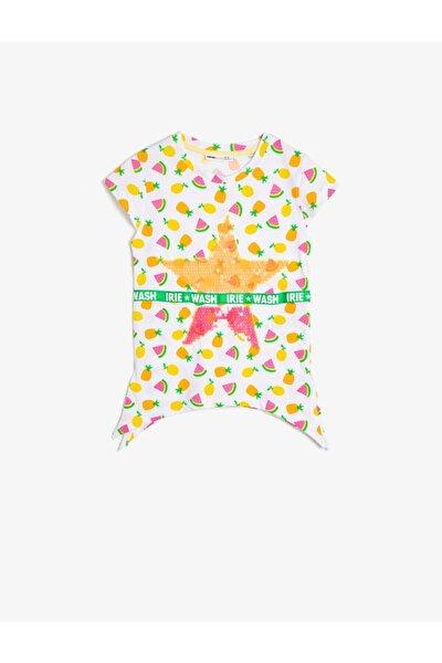 Çocuk Sarı Pul Detaylı T-shirt