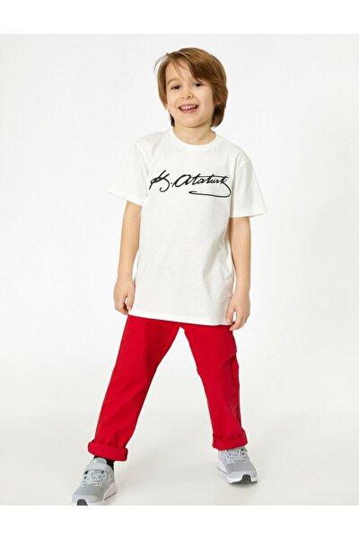 Erkek Çocuk Kırmızı Cep Detayli Pantolon