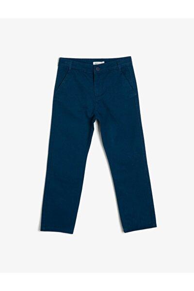 Erkek Lacivert Dügme Detayli Pantolon 0YKB46405OW