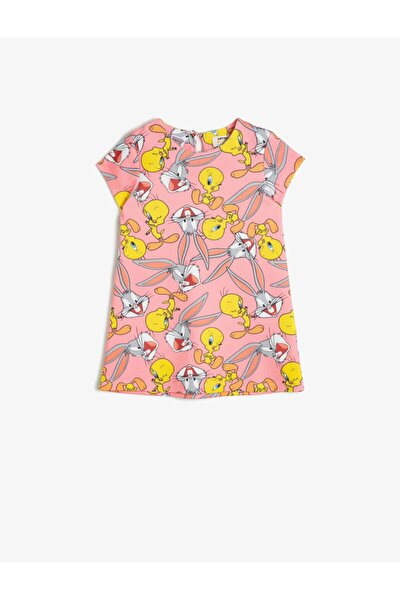 Kız Çocuk Pembe Lisanslı Baskılı  Elbise