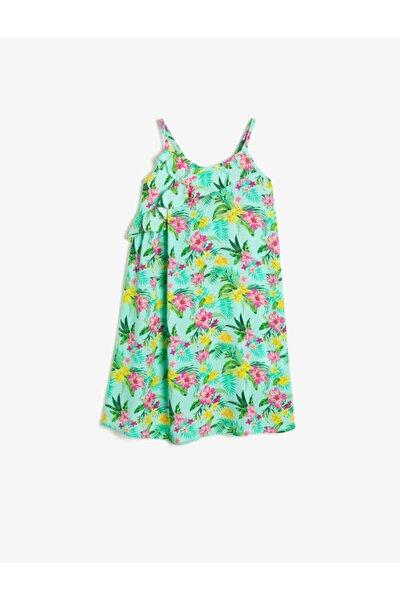 Kız Çocuk Yeşil Desenli Elbise