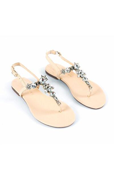 Lavin Hakiki Deri Nude Taşlı Sandalet