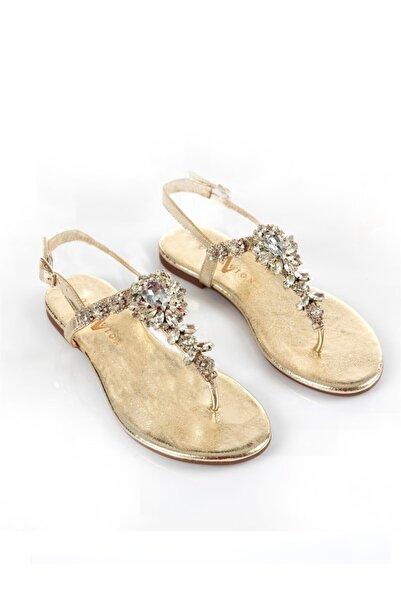 Lavin Hakiki Deri Gold Taşlı Sandalet