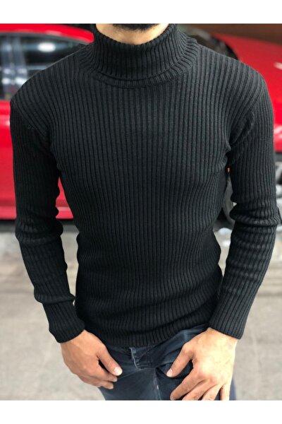 Erkek Siyah Boğazlı Slim Fit Triko Kazak